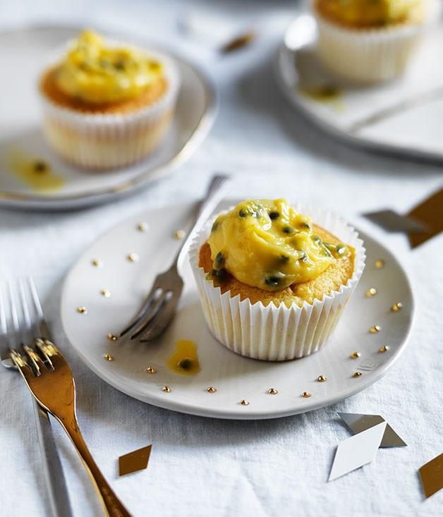 **Coconut cupcakes with passionfruit curd**