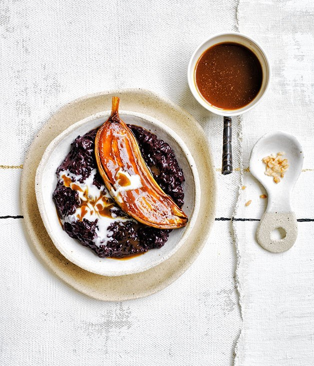 **Black rice and coconut pudding with caramel bananas**