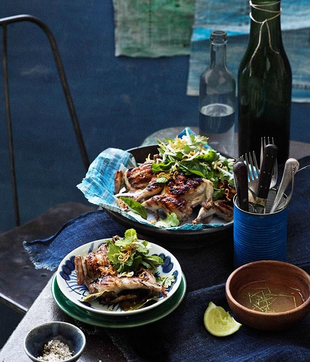 """[**Thai-style barbecued quail with lemon pepper dipping sauce**](https://www.gourmettraveller.com.au/recipes/browse-all/thai-style-barbecued-quail-with-lemon-pepper-dipping-sauce-11543