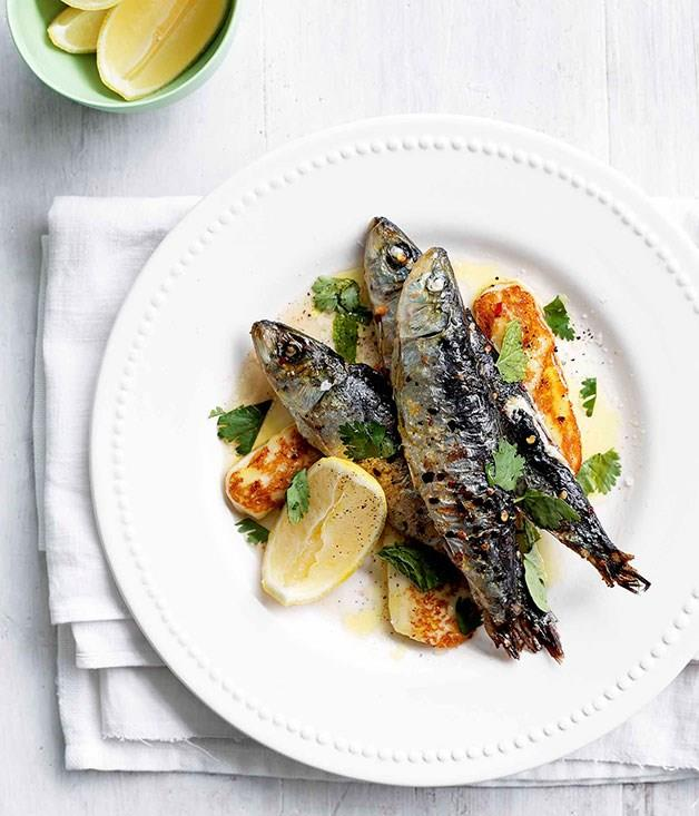 """[**Sardines grilled with chilli, haloumi and mint**](https://www.gourmettraveller.com.au/recipes/browse-all/february-sardines-grilled-with-chilli-haloumi-and-mint-14031