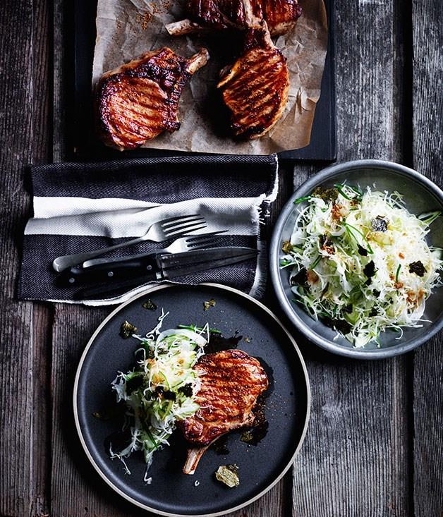 "[**Soy-glazed pork cutlets with Japanese slaw**](https://www.gourmettraveller.com.au/recipes/browse-all/soy-glazed-pork-cutlets-with-japanese-slaw-12429|target=""_blank"")"