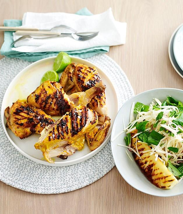 """[**Grilled turmeric chicken with kohlrabi and pineapple**](https://www.gourmettraveller.com.au/recipes/fast-recipes/grilled-turmeric-chicken-with-kohlrabi-and-pineapple-13529