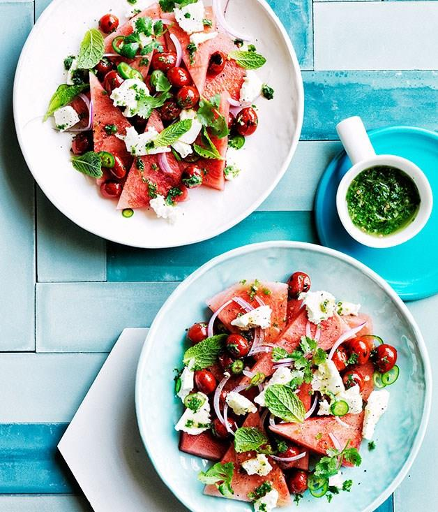 """[**Watermelon, grilled tomato and coriander salad**](https://www.gourmettraveller.com.au/recipes/browse-all/watermelon-grilled-tomato-and-coriander-salad-12444