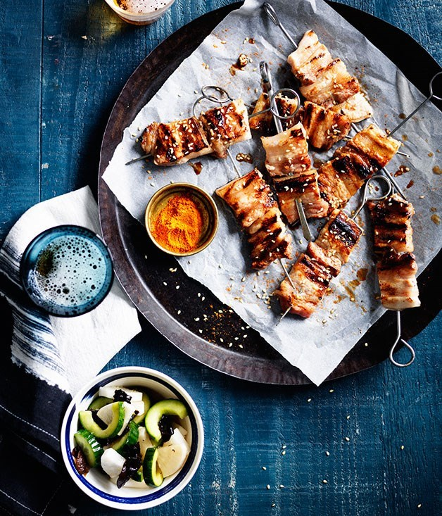 "[**Yakiton with shichimi togarashi**](https://www.gourmettraveller.com.au/recipes/fast-recipes/yakiton-with-shichimi-togarashi-13657|target=""_blank"")"