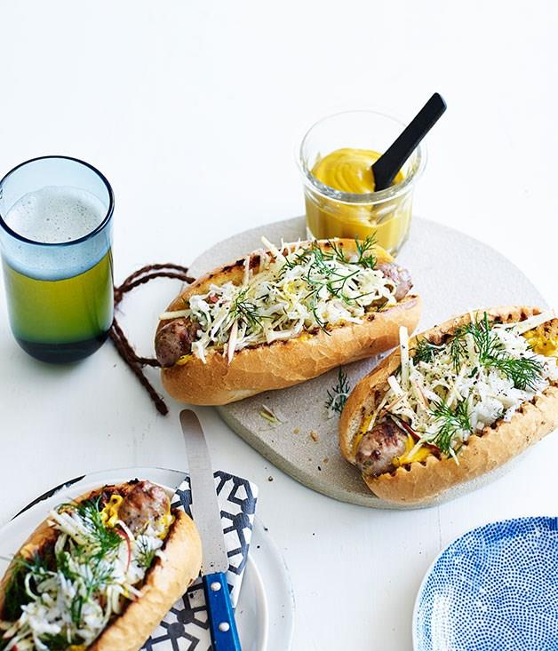 """[**Pork sausages with caraway seed, cabbage and apple slaw**](https://www.gourmettraveller.com.au/recipes/fast-recipes/pork-sausages-with-caraway-seed-cabbage-and-apple-slaw-13431
