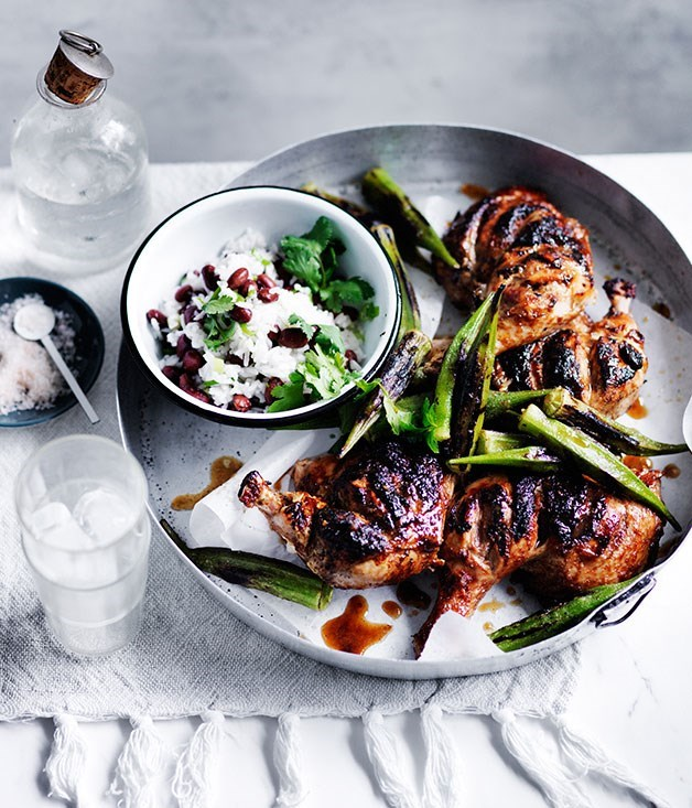 "[**Barbecued chicken with blackened okra**](https://www.gourmettraveller.com.au/recipes/fast-recipes/barbecued-chicken-with-blackened-okra-13676|target=""_blank"")"