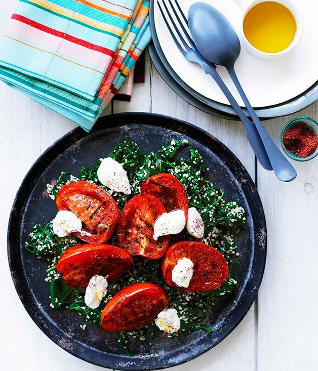 "[**Spinach and burghul with grilled tomatoes and labne**](https://www.gourmettraveller.com.au/recipes/browse-all/spinach-and-burghul-with-grilled-tomatoes-and-labne-10362|target=""_blank"")"