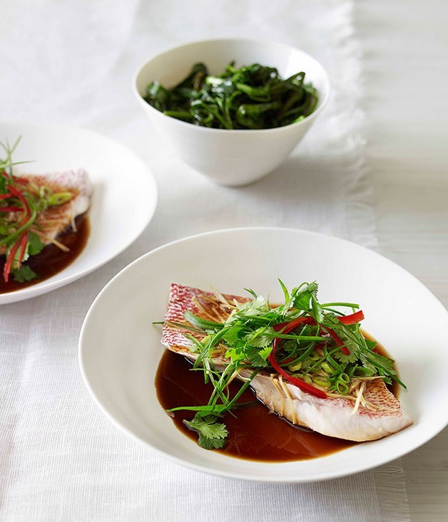 **Steamed snapper with ginger, soy and sesame**