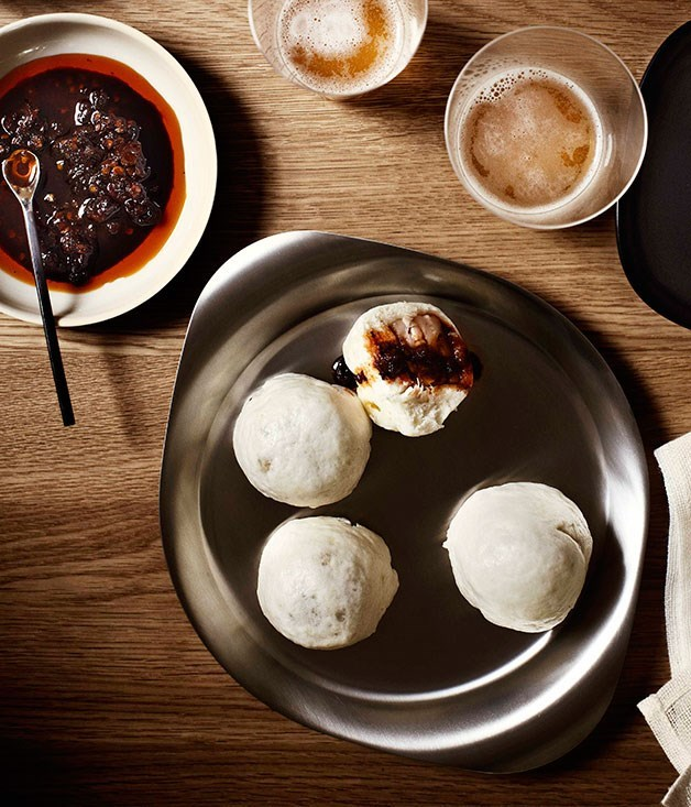 **Steamed pork dumplings with Shanghai chilli vinegar**