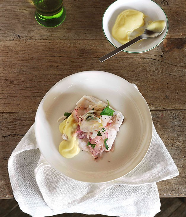 **Steamed coral trout with pickled fennel**