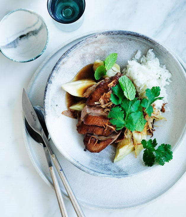 **Duck with steamed eggplant and tamarind**
