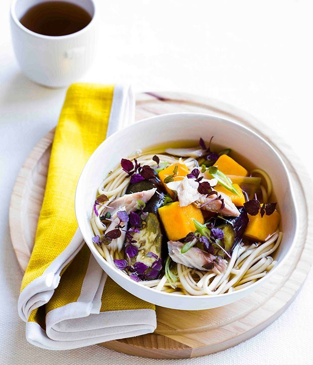 **Udon with steamed eggplant and smoked mackerel**