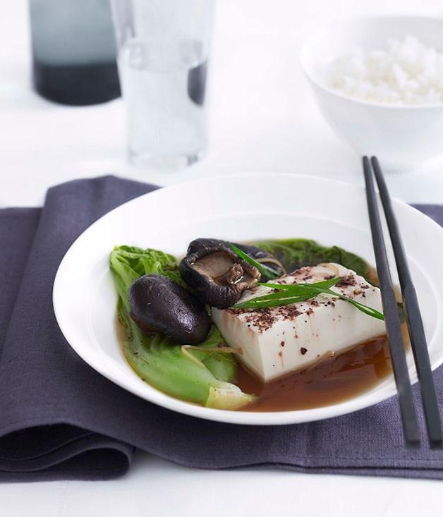 **Steamed tofu, gai choy and shiitake mushrooms**