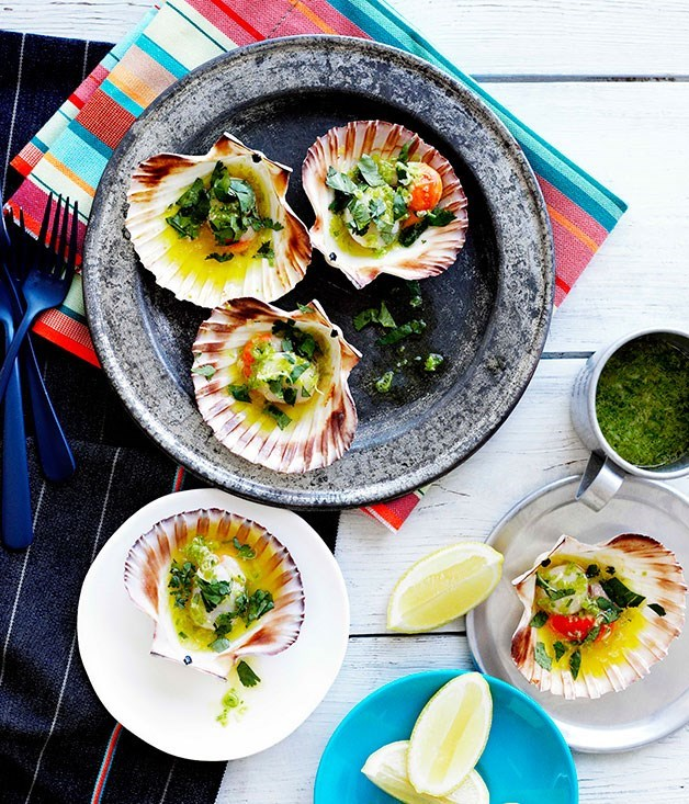 "[Grilled scallops in the shell](https://www.gourmettraveller.com.au/recipes/browse-all/grilled-scallops-in-the-shell-10365|target=""_blank"")"