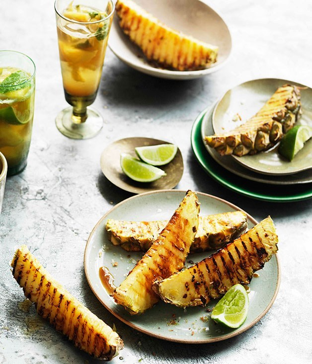 **Char-grilled pineapple wedges with chilli salt**