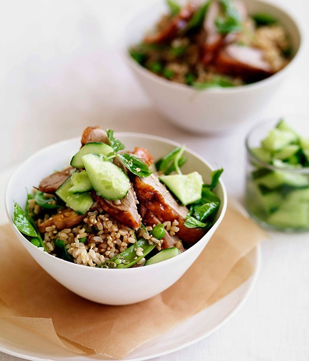 **Chinese roast duck with brown rice, peas and cucumber**