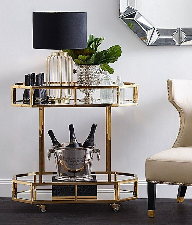 **Zanui Gold Brooklyn Drinks Trolley** _$1319, [zanui.com.au/Brooklyn-Drinks-Trolley-Gold](https://www.zanui.com.au/Brooklyn-Drinks-Trolley-Gold-132485.html)_