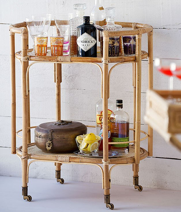 **Bowerhouse Terrance Bar Cart** _$455, [bowerhouse.com.au/products/terrance-bar-cart-natural](https://www.bowerhouse.com.au/products/terrance-bar-cart-natural)_