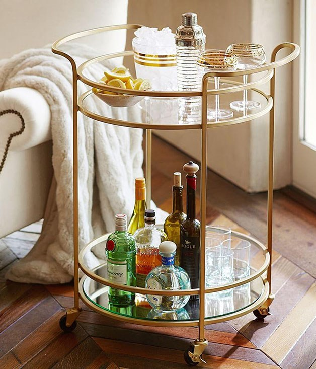 **Pottery Barn Tristan Bar Cart** _$534, [potterybarn.com.au/tristan-metal-glass-bar-cart](http://www.potterybarn.com.au/tristan-metal-glass-bar-cart)_