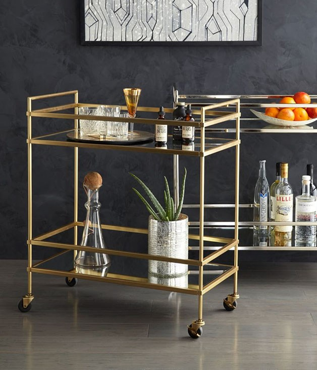 **West Elm Terrace Bar Cart** _$699, [westelm.com.au/terrace-bar-cart-h1012](http://www.westelm.com.au/terrace-bar-cart-h1012)_