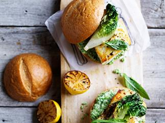 Fish burger with minty pea mayo and charred lettuce