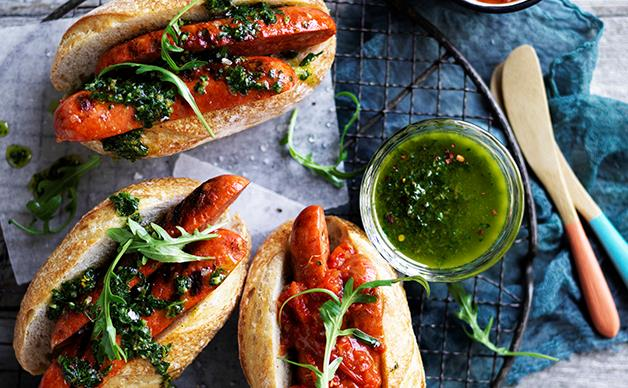 Chorizo hotdogs with chimichurri and smoky red relish
