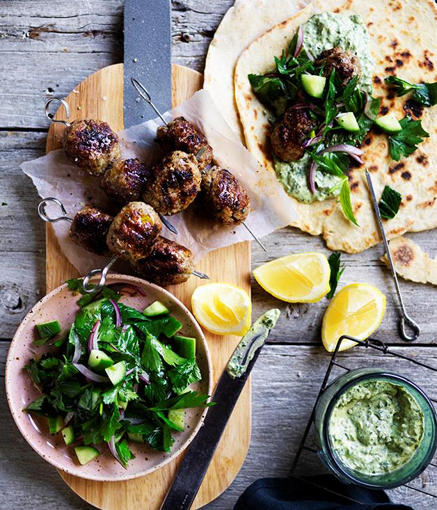 "**[Lamb köfte with green tahini yoghurt](https://www.gourmettraveller.com.au/recipes/browse-all/lamb-kofte-with-green-tahini-yoghurt-12686|target=""_blank""