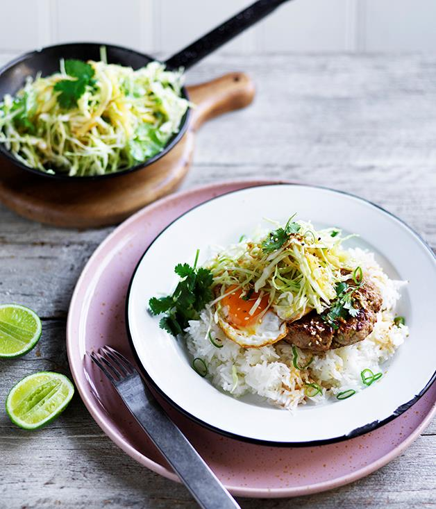 "**[Loco moco with pineapple slaw](https://www.gourmettraveller.com.au/recipes/browse-all/loco-moco-with-pineapple-slaw-12695|target=""_blank"")**"