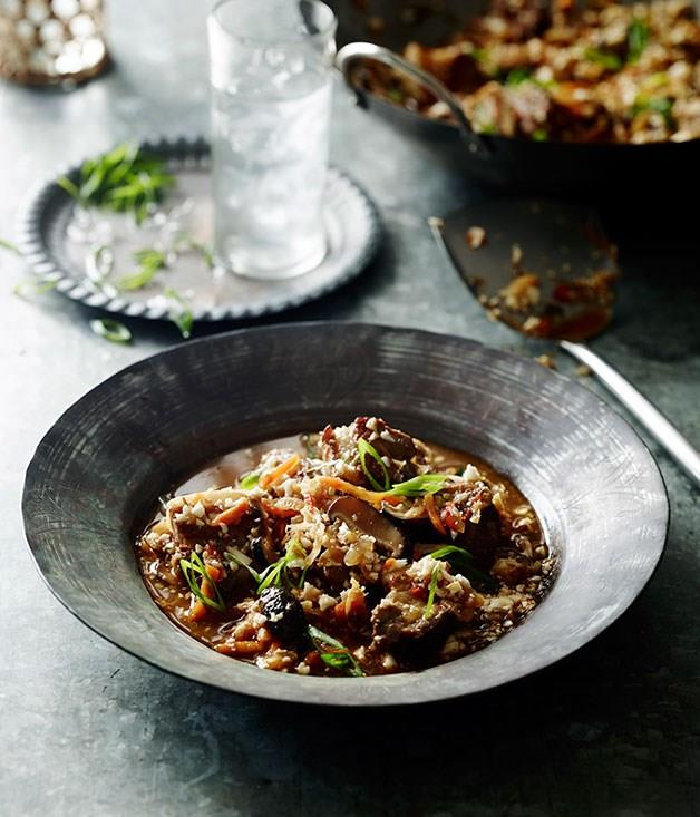 "[**Pork belly and kimchi stew with cauliflower ""rice""**](https://www.gourmettraveller.com.au/recipes/chefs-recipes/pork-belly-and-kimchi-stew-with-cauliflower-rice-8087