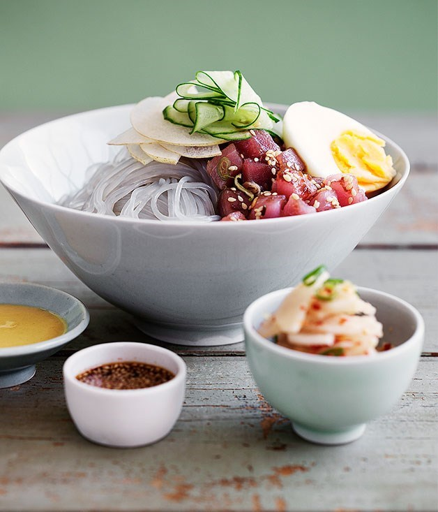 "[**Dang myun noodles with raw tuna and kimchi daikon**](https://www.gourmettraveller.com.au/recipes/browse-all/dang-myun-noodles-with-raw-tuna-and-kimchi-daikon-14050|target=""_blank"")"