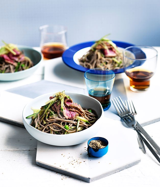 **Seared soy-beef with soba and cucumber**