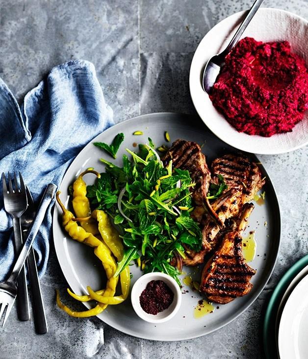 **Sumac lamb cutlets with beetroot hummus**