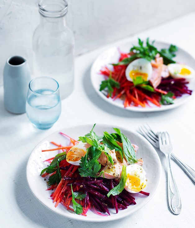 **Smoked trout, carrot and beetroot salad**