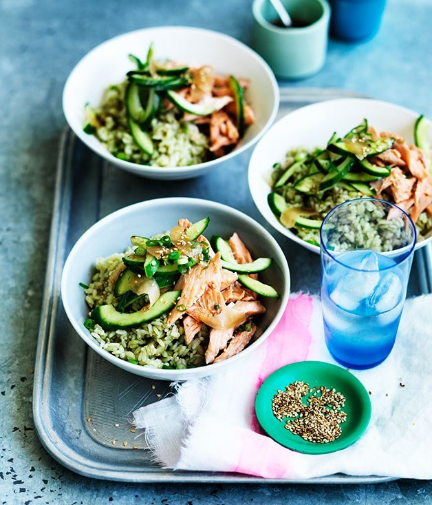 **Matcha rice with smoked trout, cucumber and pickled ginger**