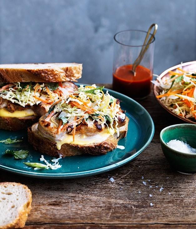 **Buttermilk-chilli chicken and coleslaw sandwiches**