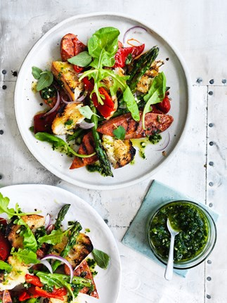 Chorizo and asparagus salad with chimichurri
