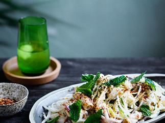 Jicama and green mango salad with grilled calamari
