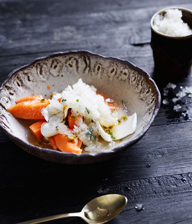 Papaya and young coconut salad with lime-rum granita