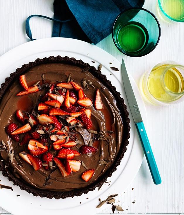"[Curtis Stone's dark chocolate and strawberry tart](http://www.gourmettraveller.com.au/recipes/chefs-recipes/curtis-stones-dark-chocolate-and-strawberry-tart-8546 target=""_blank"")"