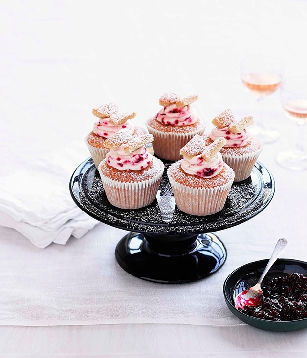 **Brown sugar butterfly cakes with raspberry cream**