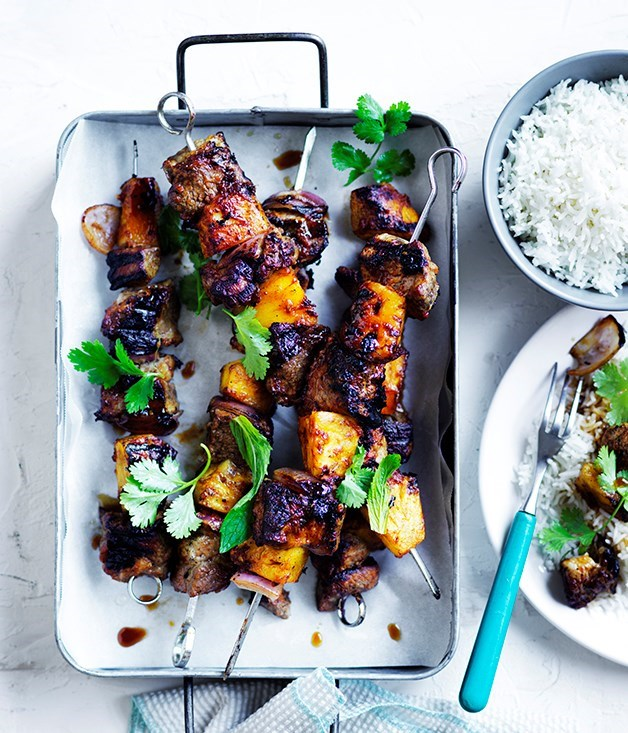 **Soy-glazed pork-and-pineapple skewers**