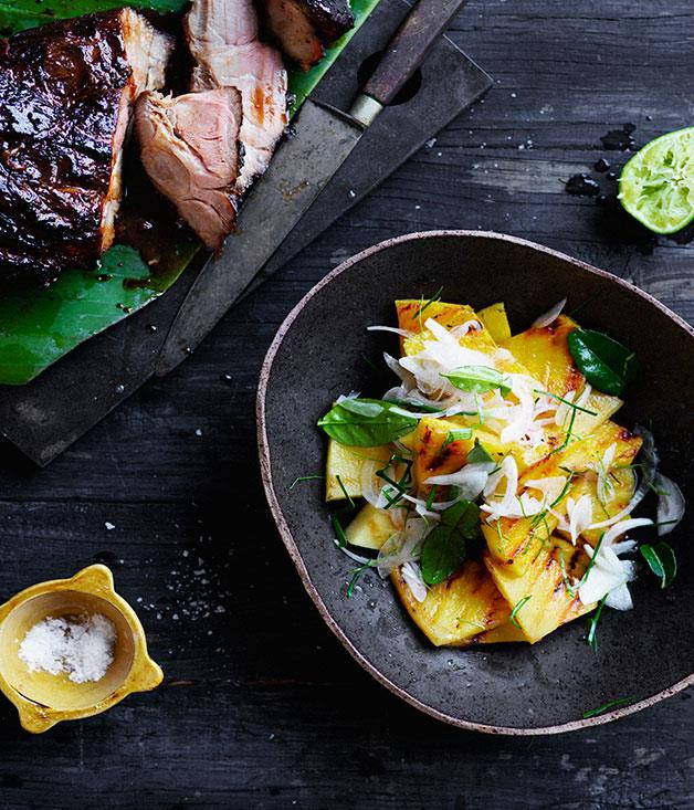 "**[Barbecued sweet soy pork with pineapple salad](https://www.gourmettraveller.com.au/recipes/browse-all/barbecued-sweet-soy-pork-with-pineapple-salad-12684|target=""_blank"")**"