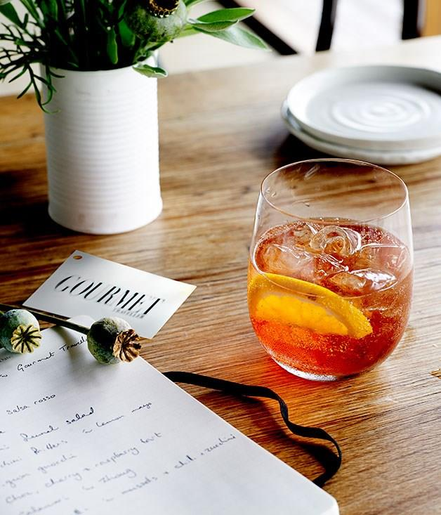 "[**Enoteca Spritz**](https://www.gourmettraveller.com.au/recipes/chefs-recipes/enoteca-spritz-8017|target=""_blank"") ""We often serve this very Italian aperitivo as a welcome drink to guests at Gertrude Street Enoteca,"" says Brigitte Hafner. ""It's a lovely way to end an afternoon and start the evening - it's refreshing and not very alcoholic."""