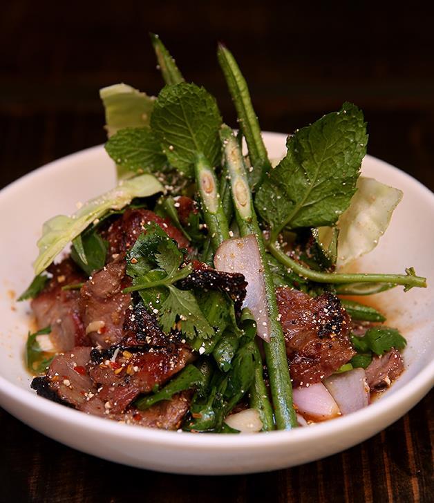 "[David Thompson's nahm dtok muu](http://www.gourmettraveller.com.au/recipes/chefs-recipes/david-thompsons-nahm-dtok-muu-8558|target=""_blank"")"