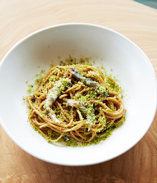 **Spaghetti mancini with Port Lincoln sardines, black garlic, chilli and bread crumbs**