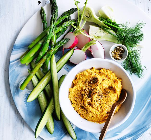 Carrot and almond hummus