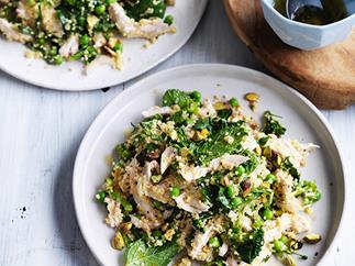 Poached chicken and millet salad with peas and mint