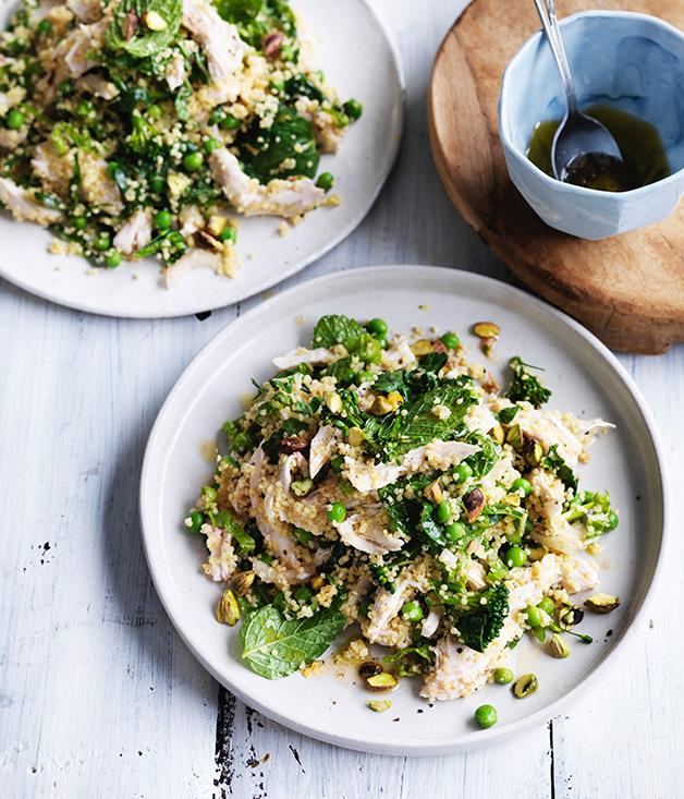 "**[Poached chicken and millet salad with peas and mint](http://www.gourmettraveller.com.au/recipes/fast-recipes/poached-chicken-and-millet-salad-with-peas-and-mint-13789|target=""_blank"")**"