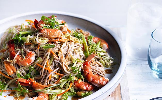 Prawn, cabbage and soba noodle salad