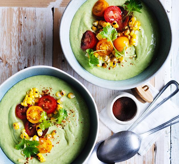 Chilled avocado soup with grilled corn